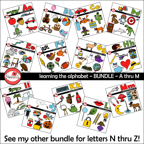 Learning the Alphabet - BUNDLE Clipart A-M by Poppydreamz Cliparts Poppydreamz    Mygrafico