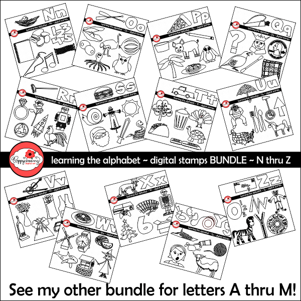 Learning the Alphabet - BUNDLE Digital Stamps N thru Z by Poppydreamz  Poppydreamz    Mygrafico