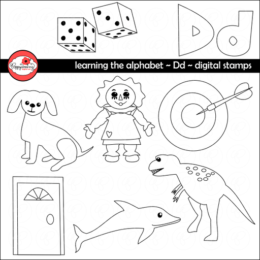 Learning the Alphabet - The Letter D Digital Stamps by Poppydreamz  Poppydreamz    Mygrafico