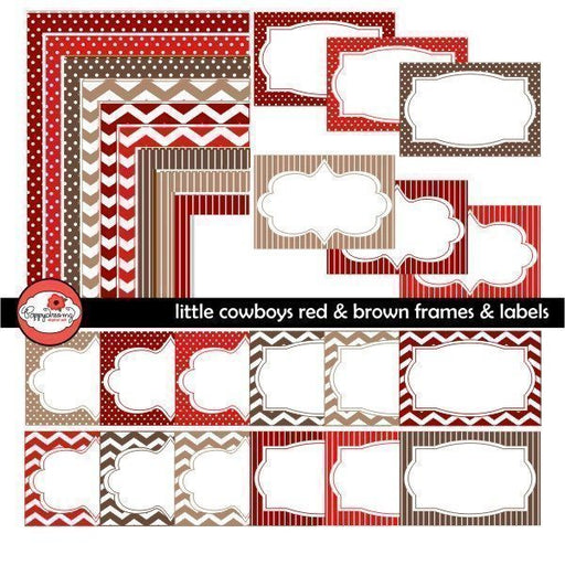 Little Cowboys Red & Brown Frames & Labels by Poppydreamz  Poppydreamz    Mygrafico