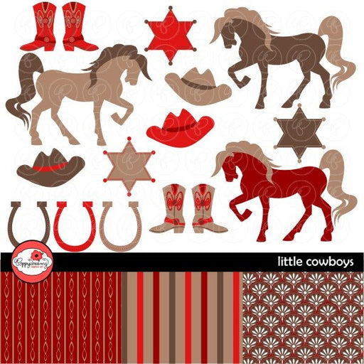 Little Cowboys Red & Brown by Poppydreamz  Poppydreamz    Mygrafico