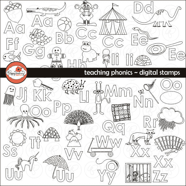 Teaching Phonics Digital Stamps by Poppydreamz  Poppydreamz    Mygrafico