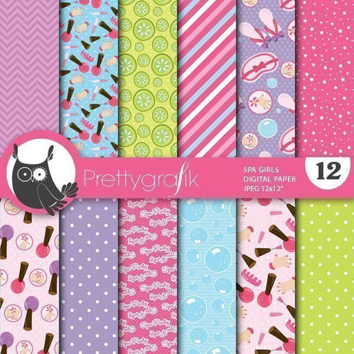 Spa girls digital papers Digital Papers & Backgrounds Prettygrafik    Mygrafico