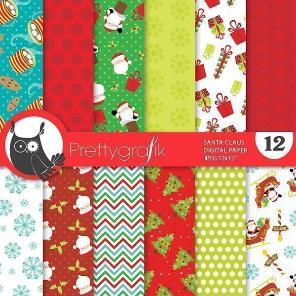 Christmas Santa Claus digital paper Digital Papers & Background Prettygrafik    Mygrafico