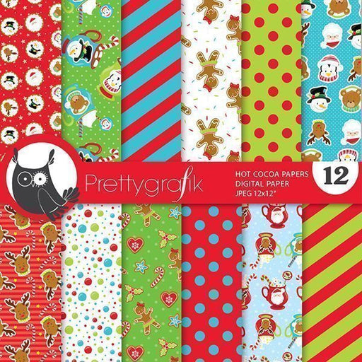 Christmas cocoa digital papers Digital Papers & Background Prettygrafik    Mygrafico