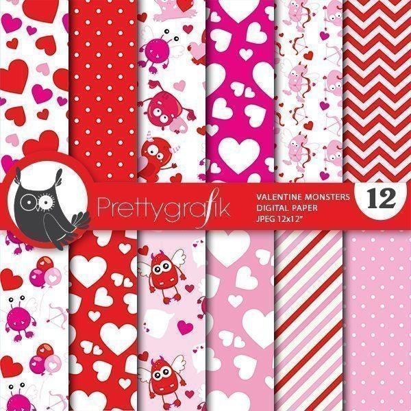 valentine monsters digital papers Digital Papers & Backgrounds Prettygrafik    Mygrafico