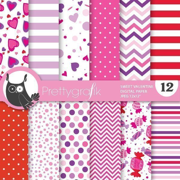 Sweet valentine digital papers Digital Papers & Backgrounds Prettygrafik    Mygrafico