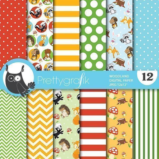 Woodland animals digital papers Digital Papers & Backgrounds Prettygrafik    Mygrafico