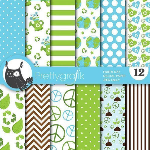 Earth day digital papers Digital Papers & Background Prettygrafik    Mygrafico