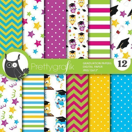 Graduation owls digital papers Digital Papers & Background Prettygrafik    Mygrafico
