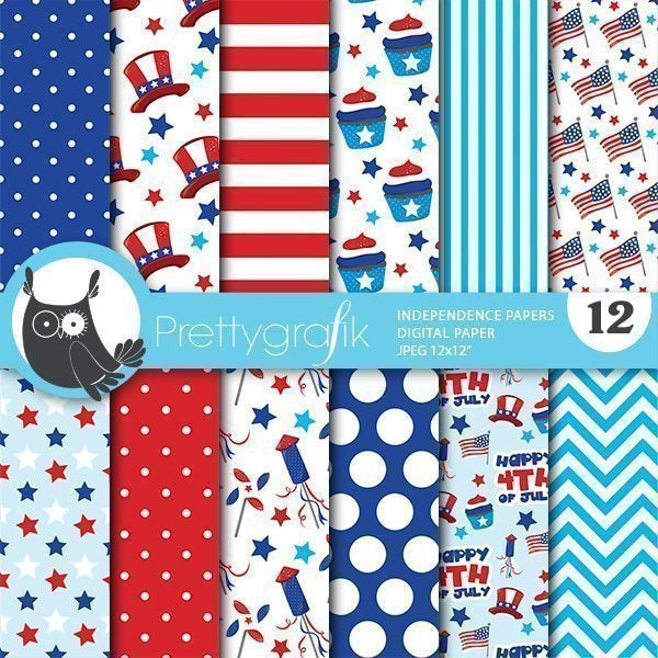 Independence day digital papers Digital Papers & Backgrounds Prettygrafik    Mygrafico