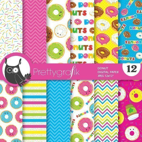 Donuts Digital Papers  Prettygrafik    Mygrafico