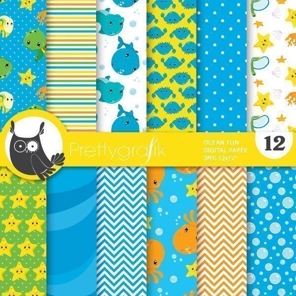 Ocean fun Snorkeling digital papers  Prettygrafik    Mygrafico