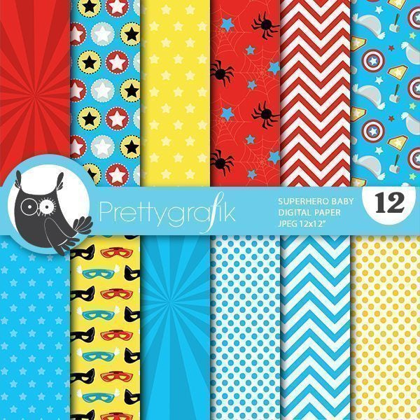 Superhero baby Digital papers Digital Papers & Backgrounds Prettygrafik    Mygrafico