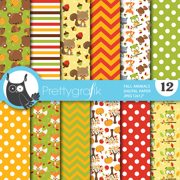 Fall animals Digital Paper Digital Papers & Backgrounds Prettygrafik    Mygrafico
