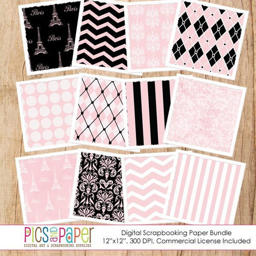 Chic Paris Papers Digital Papers & Background Pics and Paper    Mygrafico