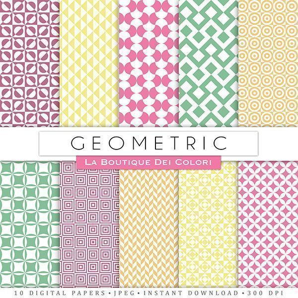 Pastel Geometric Patterns Digital Papers  La Boutique Dei Colori    Mygrafico