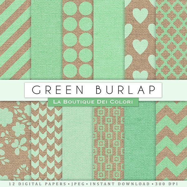 Green Burlap Digital Papers  La Boutique Dei Colori    Mygrafico