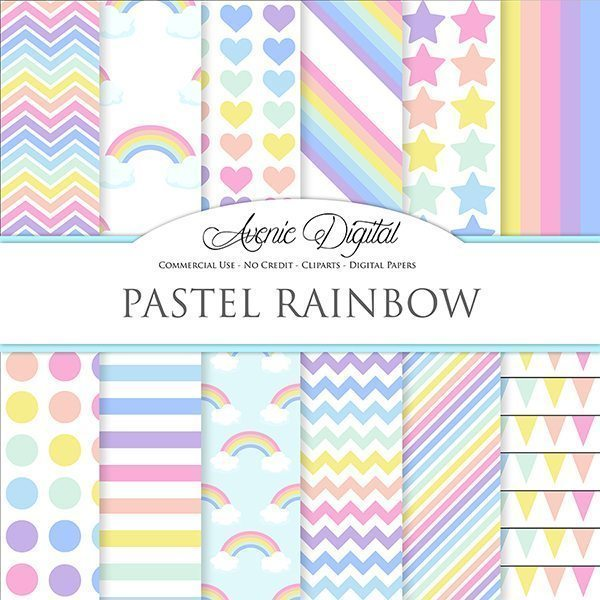 Pastel Rainbow Digital Paper  Avenie Digital    Mygrafico