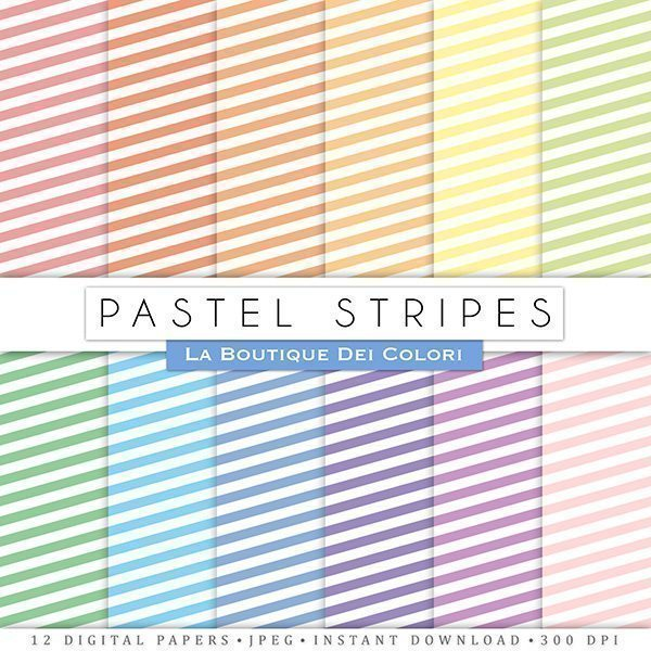 Pastel Stripes Digital Papers  La Boutique Dei Colori    Mygrafico