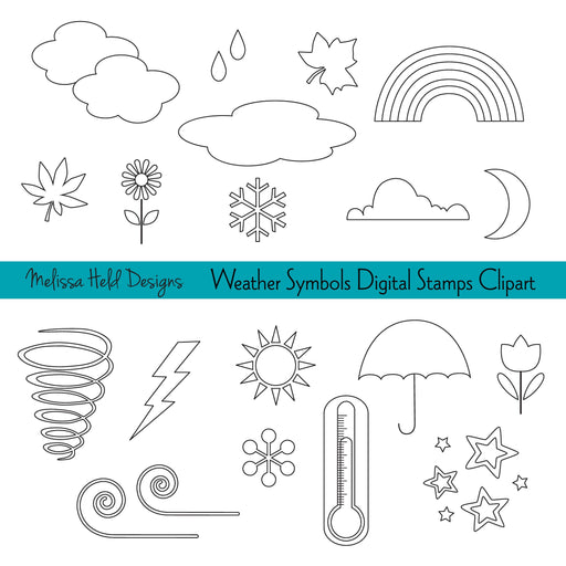 Weather Icons Digital Stamps Clipart Digital Stamps Melissa Held Designs    Mygrafico