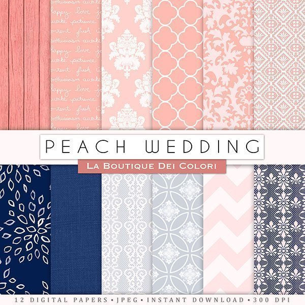 Peach Navy Wedding Digital Paper  La Boutique Dei Colori    Mygrafico