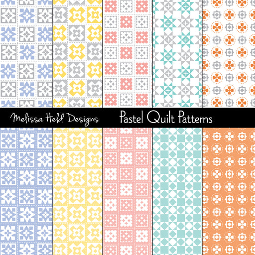 Pastel Quilt Patterns Digital Paper & Backgrounds Melissa Held Designs    Mygrafico