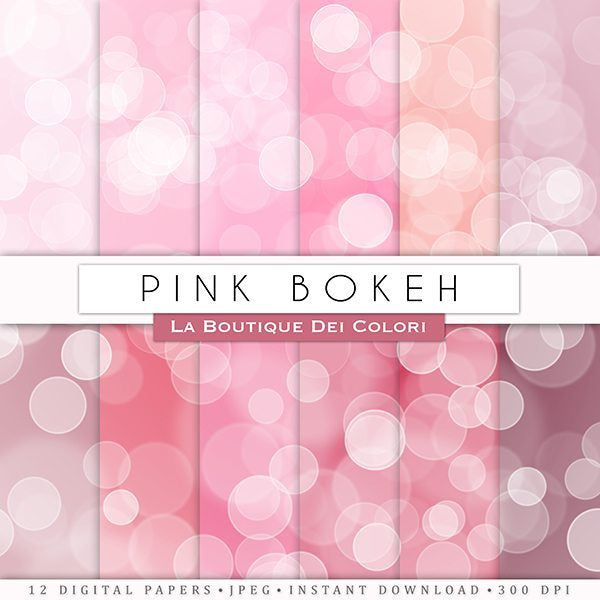 Pink Bokeh Digital Papers  La Boutique Dei Colori    Mygrafico