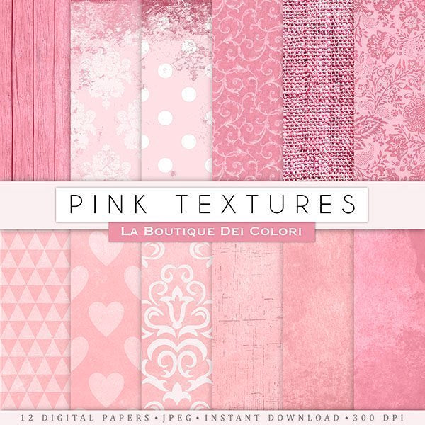 Pink Textures Digital Papers  La Boutique Dei Colori    Mygrafico