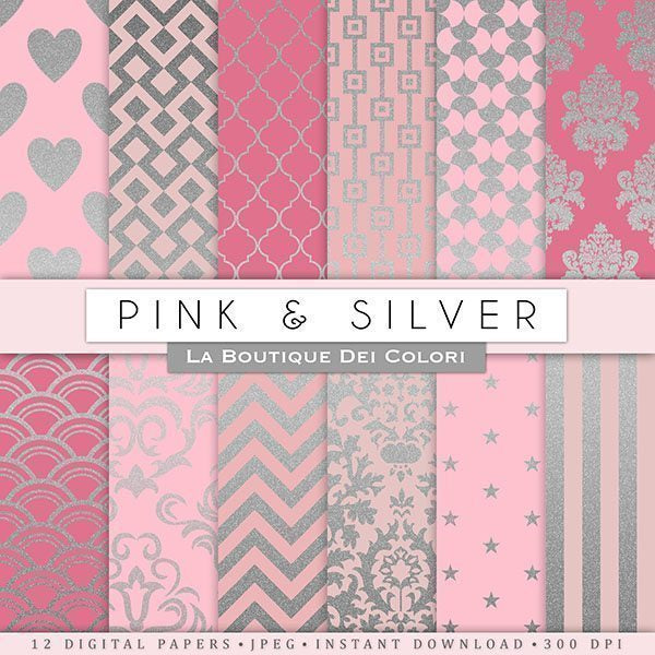 Pink and Silver Digital Papers  La Boutique Dei Colori    Mygrafico