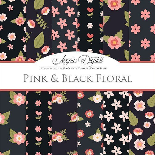 Pink and Black flowers Digital Paper  Avenie Digital    Mygrafico