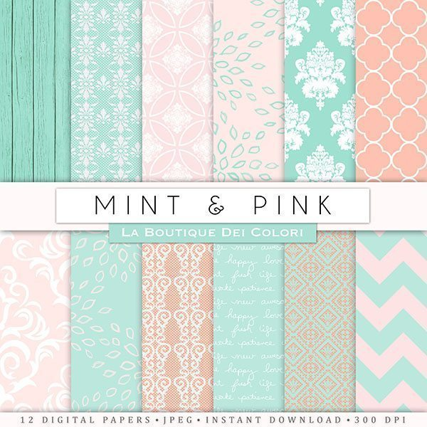 Pink and Mint Wedding Papers  La Boutique Dei Colori    Mygrafico