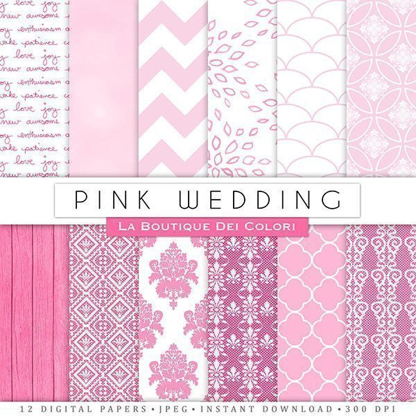 Pink Wedding Digital Papers  La Boutique Dei Colori    Mygrafico