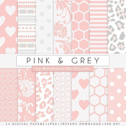 Pink & Gray Digital Papers Digital Papers & Backgrounds La Boutique Dei Colori    Mygrafico