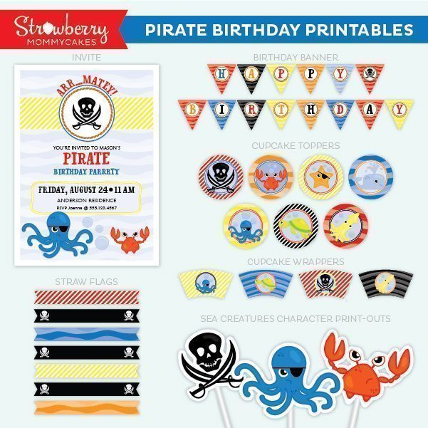 Pirate Birthday Party Printable Party Printable Templates Strawberry Mommycakes    Mygrafico