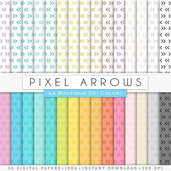 Pixel Arrows Digital Paper v2  La Boutique Dei Colori    Mygrafico