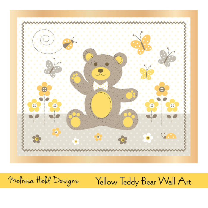 Yellow Teddy Bear Wall Art Digital Paper & Backgrounds Melissa Held Designs    Mygrafico