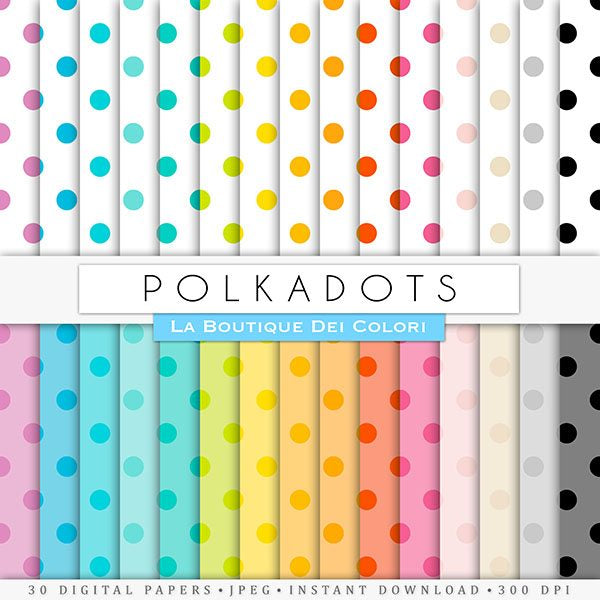 Big Polka dots Digital Papers  La Boutique Dei Colori    Mygrafico
