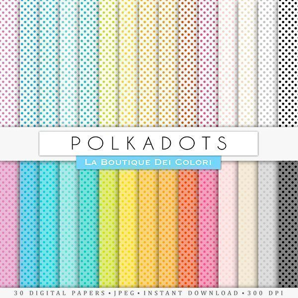 Small Polkadots Digital Paper  La Boutique Dei Colori    Mygrafico