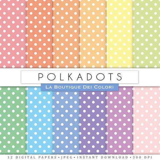 Polkadots Digital Papers  La Boutique Dei Colori    Mygrafico