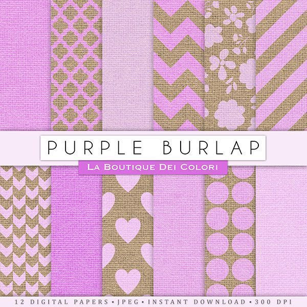 Pretty Purple Burlap Digital Papers  La Boutique Dei Colori    Mygrafico
