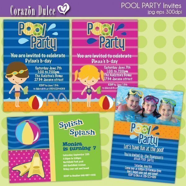 POOL PARTY INVITES  Corazón Dulce    Mygrafico