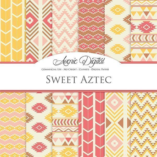 Sweet Aztec Digital Paper  Avenie Digital    Mygrafico