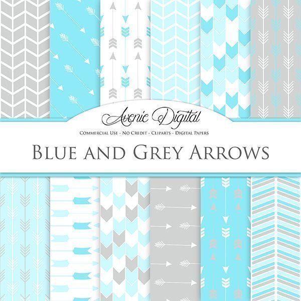 Blue and gray Arrows Digital Paper