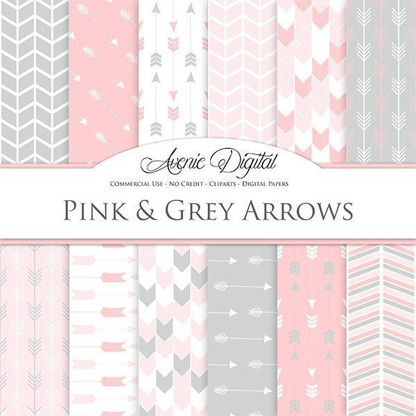 Pink and Grey Arrows Digital Paper  Avenie Digital    Mygrafico