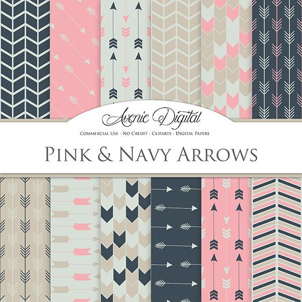 Pink and Navy Arrows Digital Paper  Avenie Digital    Mygrafico