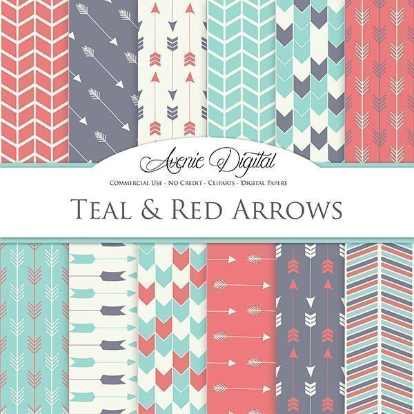 Teal and Red Arrows Digital Paper  Avenie Digital    Mygrafico
