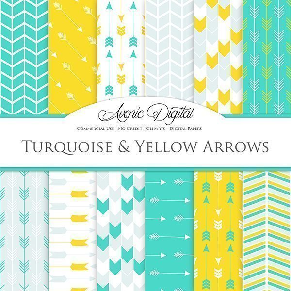 Turquoise and Yellow Arrows Digital Paper  Avenie Digital    Mygrafico