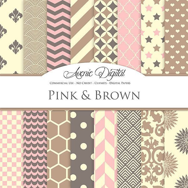 Old Pink and Brown Digital Paper  Avenie Digital    Mygrafico