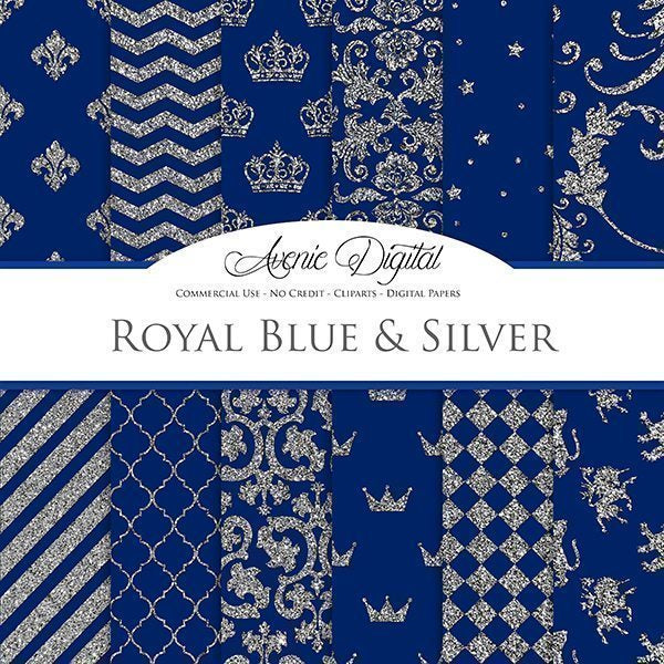 Royal Blue and Silver Digital Paper  Avenie Digital    Mygrafico